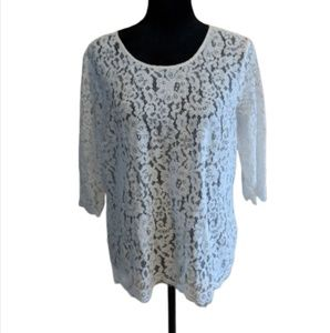 The Limited Lacy White Sheer Blouse - Sz L